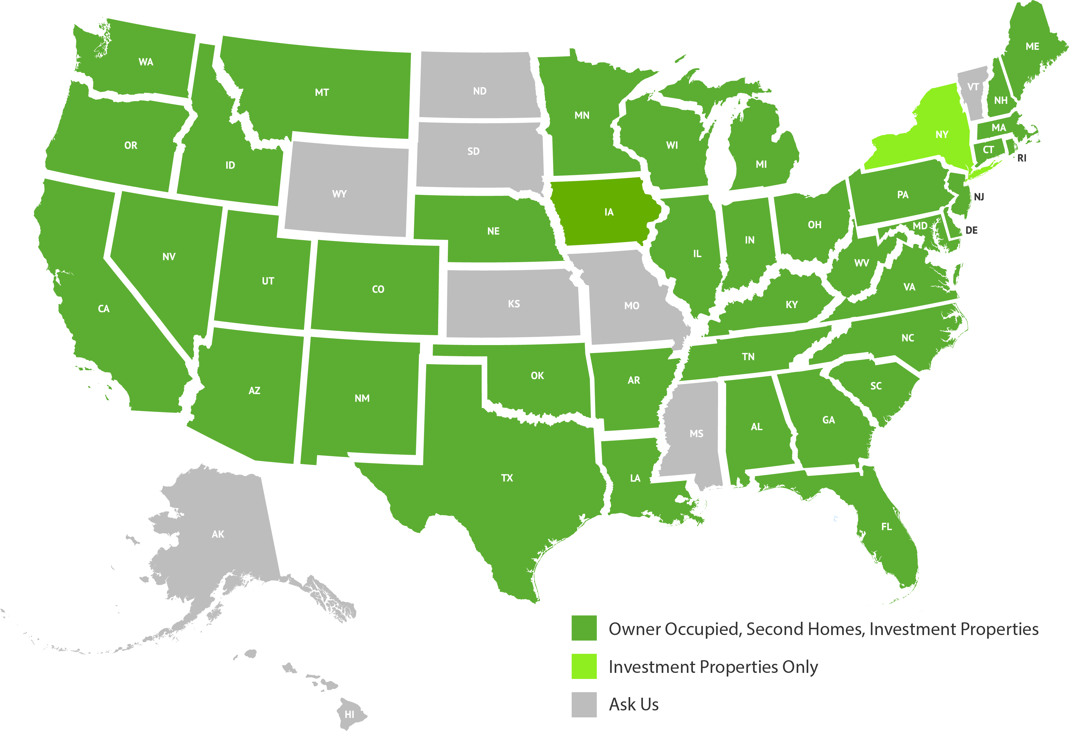USA map with colored states based on different Mortgage Licensing information